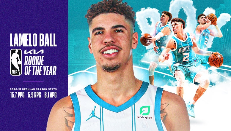 LaMelo Ball Named 2020-21 Kia NBA Rookie of the Year   Charlotte Hornets