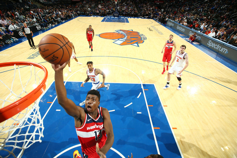 New york ny october thomas bryant of the washington wizards shoots ball against knicks during  pre season game on also assign to go rh nba