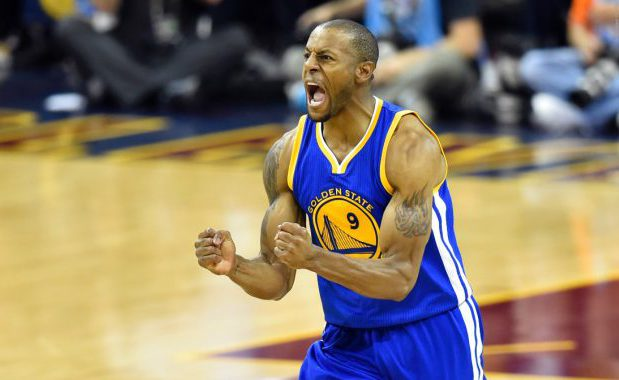 Jun 16, 2015; Cleveland, OH, USA; Golden State Warriors guard Andre Iguodala (9) reacts during the fourth quarter of game six of the NBA Finals against the Cleveland Cavaliers at Quicken Loans Arena. Mandatory Credit: David Richard-USA TODAY Sports
