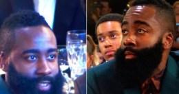 Las dos caras de James Harden durante la gala de la NBA