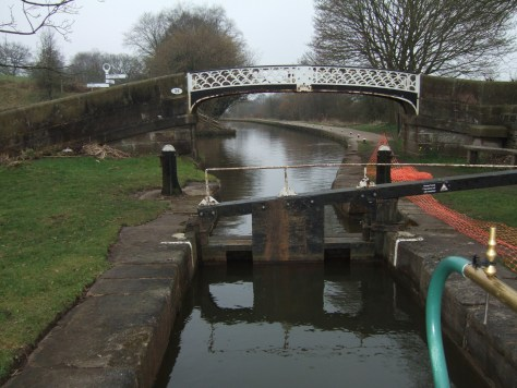 The first lock at Hazlehurst junction, a sharp turn right from the Leek arm onto the Caldon.