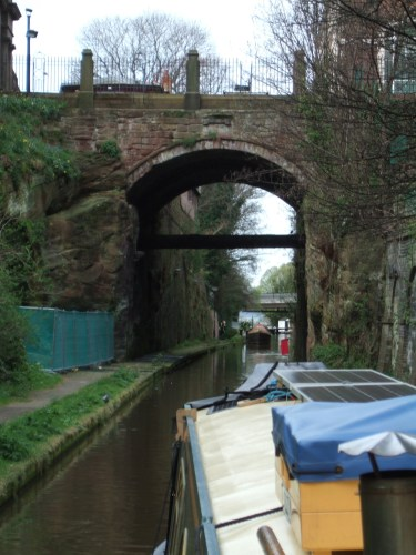 The canal was cut through solid rock.This picture is the approach to Northgate Locks. A triple staircase!