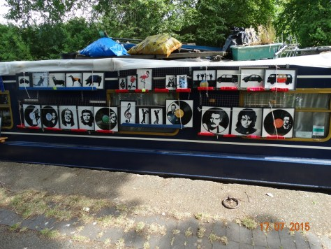 Boat selling pictures made from old vinyl records