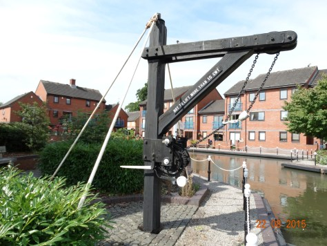 Crane at what was once a wharf and now sits in front of flats next to the sanitary station