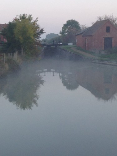 View of Claydon top lock in the early morning mist