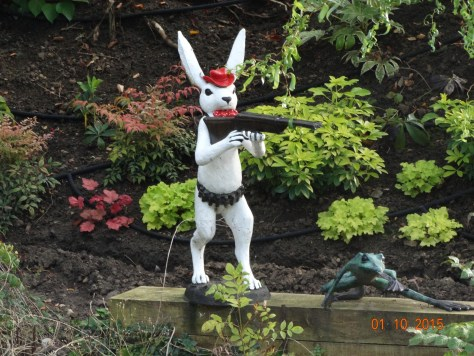 He is in a garden opposite the water point