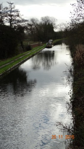 A picture of our mooring from the bridge. It shows how quiet the canal is now.