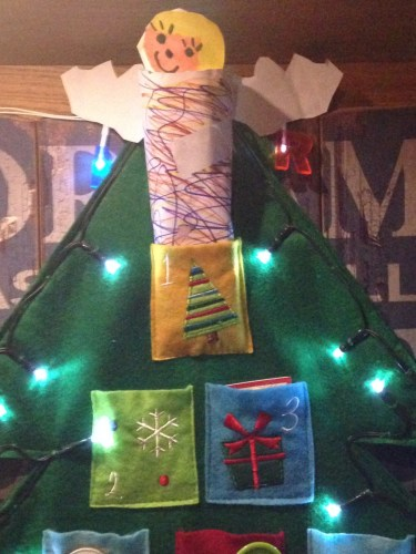 our advent tree complete with home made fairy