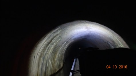 in the tunnel. The light ahead is another boat coming in the opposite direction