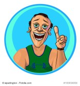 Vector image of cheerful trainer holding his index finger up – the gesture of attention. Made in comic cartoon style.