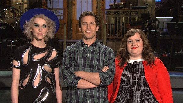 Watch Snl Promo Andy Samberg And St. Vincent Silly With Names Saturday Night Live
