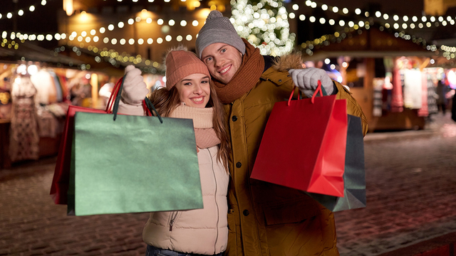 holidays, christmas and people concept - happy couple at with sh_364455