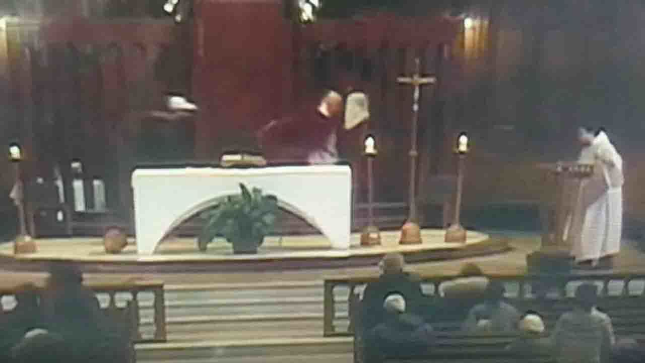Catholic priest stabbed during televised mass