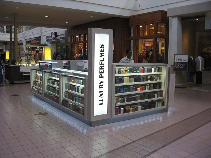 Perfume Kiosk Displays and Retail Store Mall Displays for Parfumerie Riviera and Luxury Perfumes