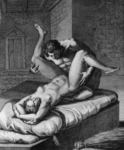 "18th and 19th century erotic books owned by author and art collector Roger Peyrefitte were auctioned off and dispersed in 1981.Frontispice and engravings from ""L'Aretin by Agostino Carracci,or erotic postures.."" after Carracci's paintings by J.J. Coigny(1761-1809)."