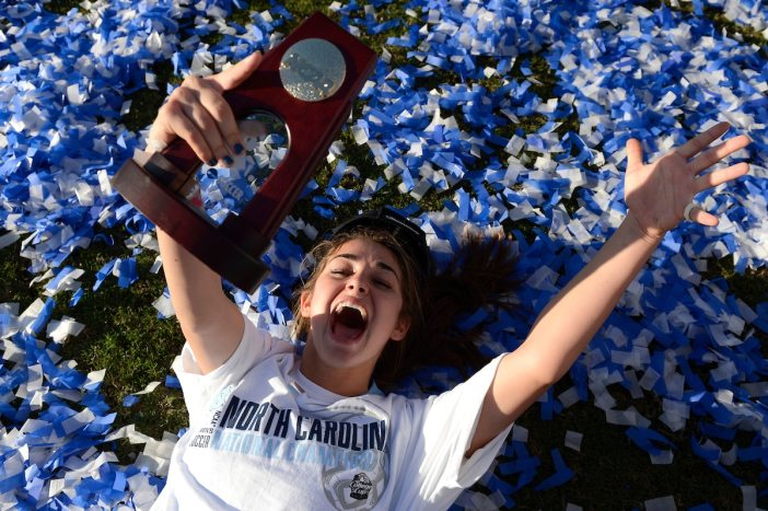 UNC's Reilly Parker celebrates the Tar Heels 4-1 victory over Penn State University during the 2012 Division I Women's Soccer Championship.