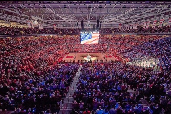 Bud Walton Arena has space for 19,368 fans.