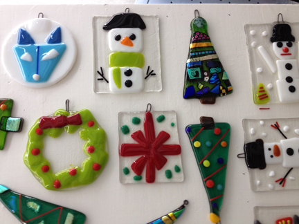 Christmas In July Fused Glass Christmas Ornaments
