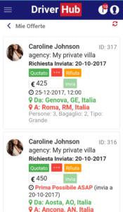 Profilo ckiente DiverHub NCC visto da Autista
