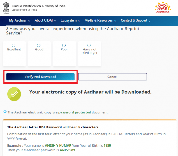 "click ""Verify And Download"" to download the eAadhaar card."