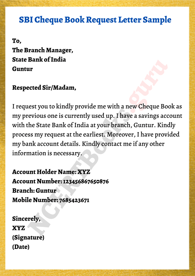Cheque Book Request Letter Formats, Samples & How To Write A Letter?