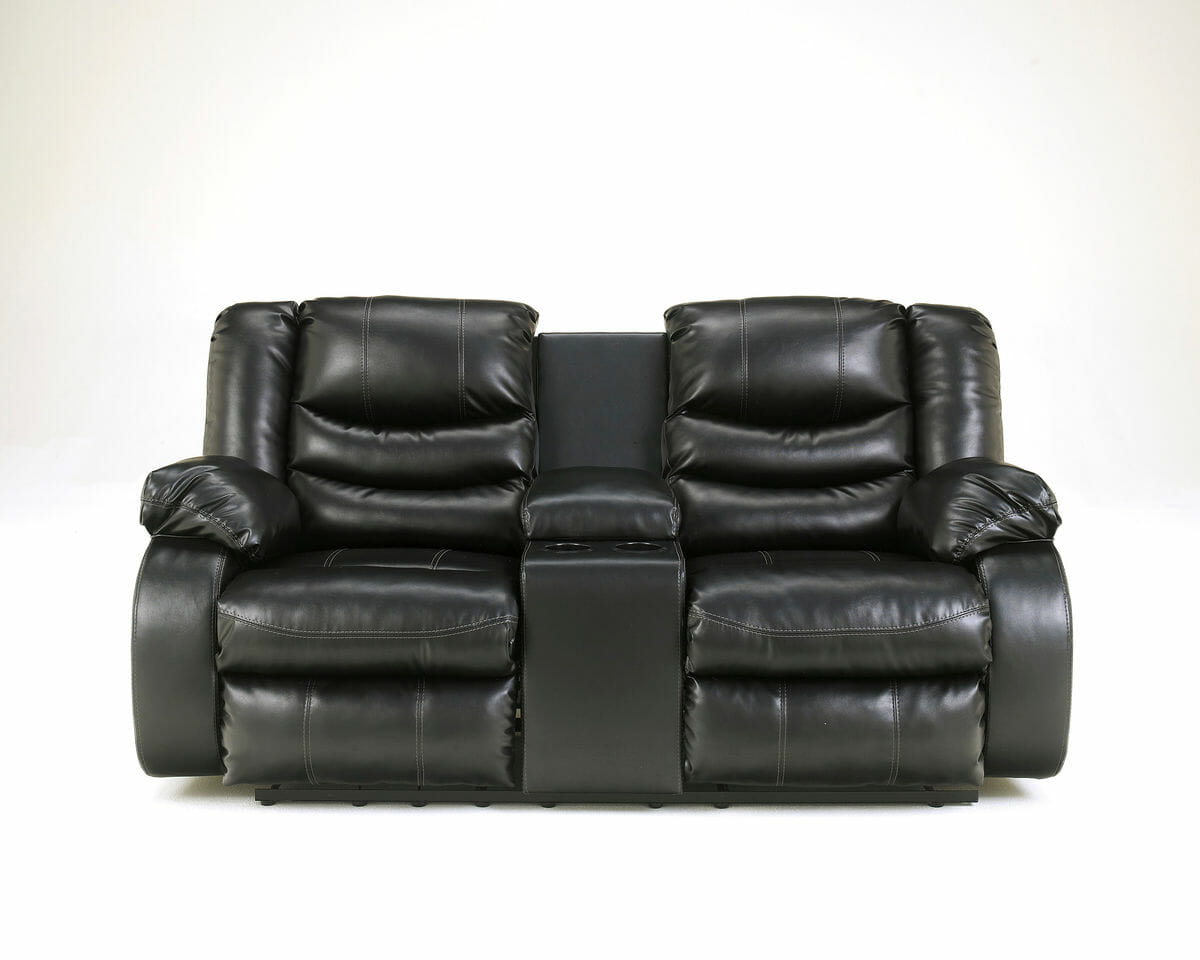 black reclining sofa with console rv sleeper replacement air mattress linebacker durablend dbl rec loveseat w