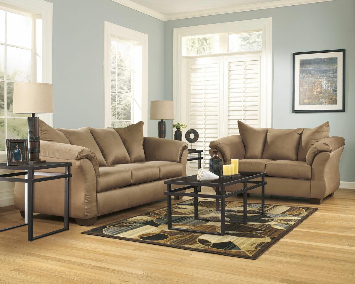 lauren ashley 60 zero wall sofa recliner two cushion power reclining darcy mocha loveseat laney table set and oriel