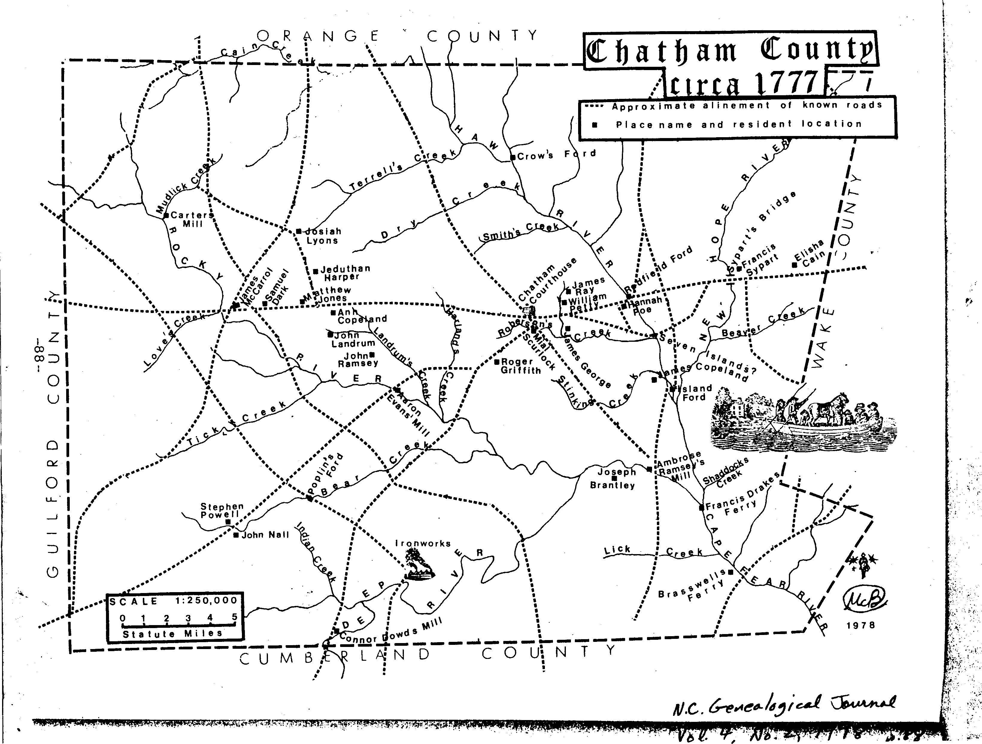 Chatham County Old Trails & Creeks-1770's
