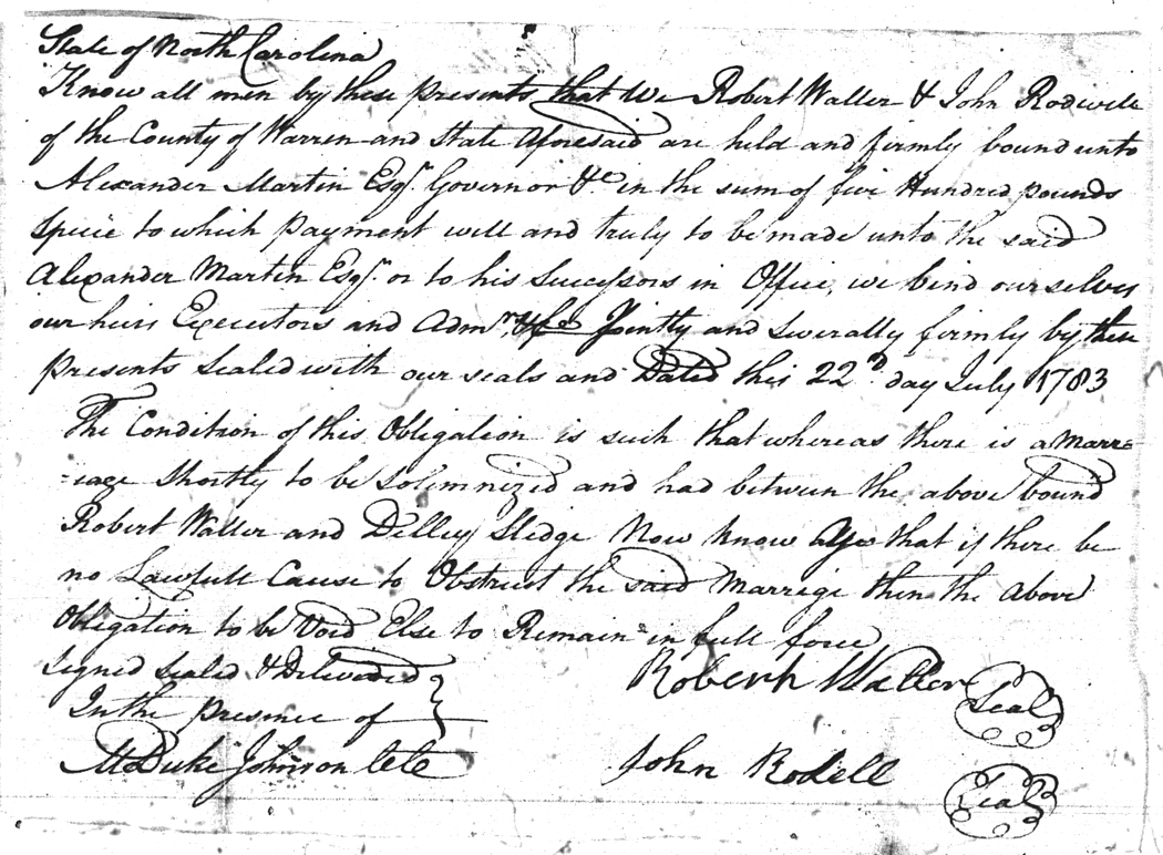 Warren Co.NC Marriages 1779-1868