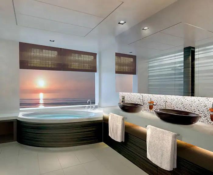 ノルウェージャンクルーズライン ザ・ヘブン 2ベッドファミリースイート バスルーム The Haven's 2-Bedroom Family Villa with Balcony Bathroom on Norwegian Escape