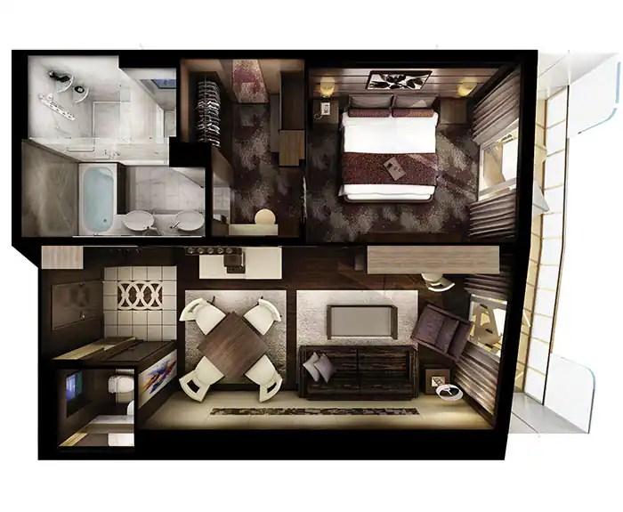 ノルウェージャンクルーズライン ザ・ヘブン オーナースイート 見取り図 The Haven's Owners Suite Floor Plan on Norwegian Escape