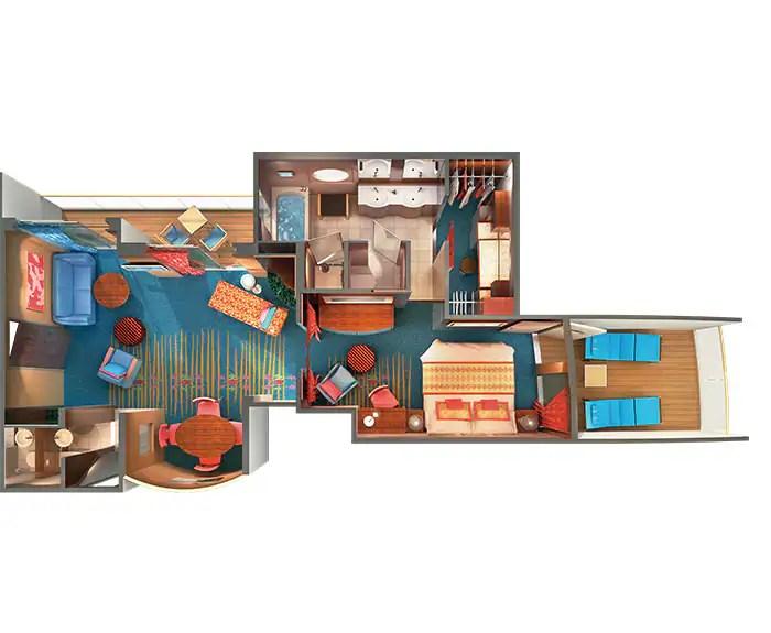ノルウェージャンクルーズライン ザ・ヘブン オーナースイート 見取り図 The Haven's Owners Suite Floor Plan on Norwegian Gem
