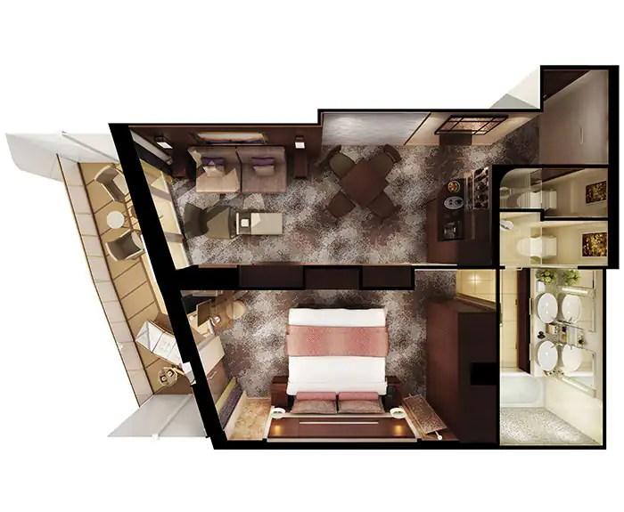 ノルウェージャンクルーズライン ザ・ヘブン 最後尾に面したペントハウス フロアプラン The Haven's Aft-Facing Penthouse on Norwegian Escape