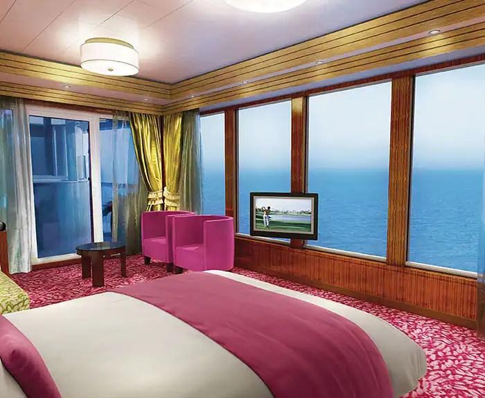 ノルウェージャンクルーズライン ザ・ヘブン 3ベドルームガーデンヴィラ The Haven's 3-Bedroom Garden Villa Bedroom on Norwegian Pearl