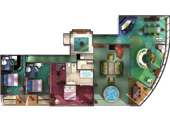 ノルウェージャンクルーズライン ザ・ヘブン 3ベッドルームガーデンヴィラ見取り図 The Haven's 3-Bedroom Garden Villa Floor Plan