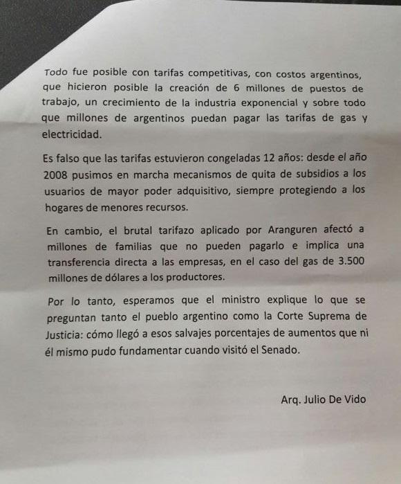 Segunda parte de la carta de Julio De Vido