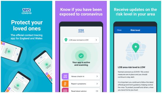 Screen shots of the first 3 screens of the COVID-19 NHS Test and Trace app