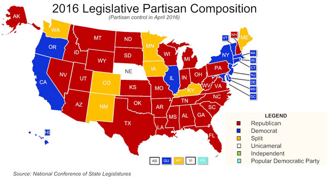 Image result for image of states controlled by republican legislators in 2016