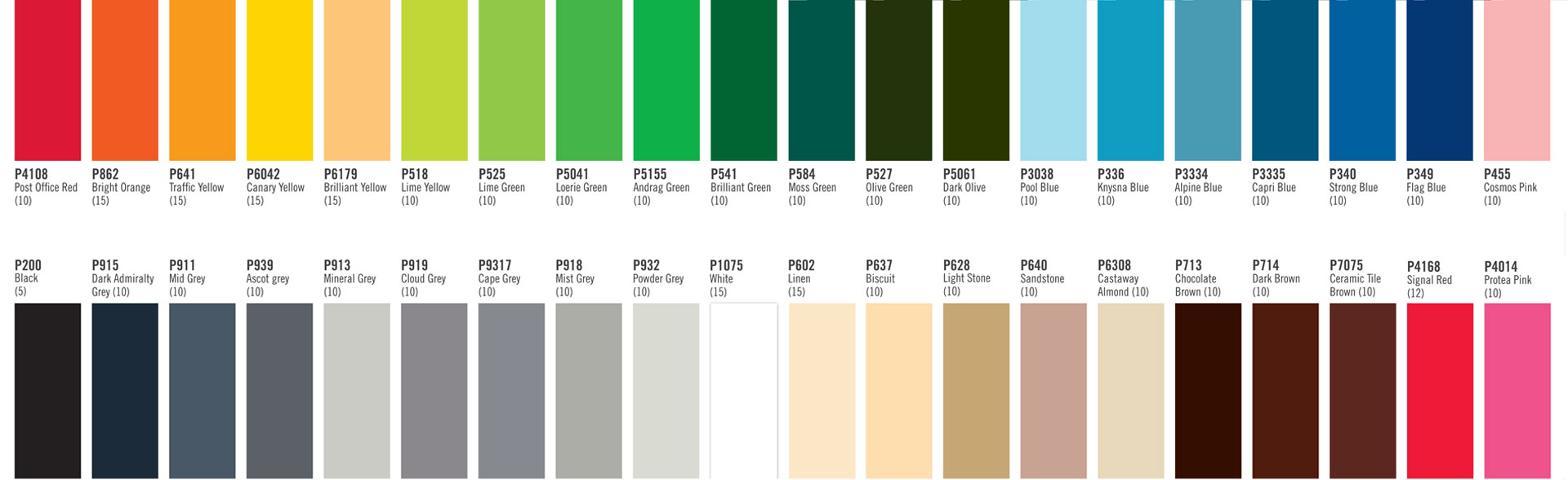 hight resolution of standard colour range