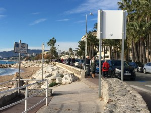 Walking the beachfront in Cannes
