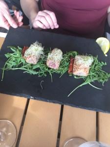Tuna at o'key beach restaurant in Cannes