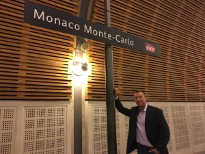 Arriving at Monaco's train station