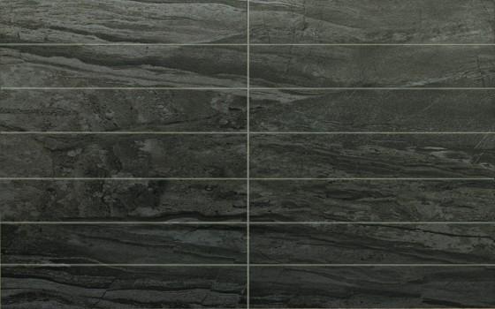 Elegant Dark Grey Gloss Scored Wall Tile