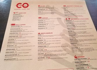 Lunch-dinner menu at CO in Raleigh