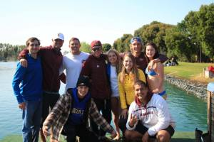 ASU Water Ski; Freezing for a team picture.