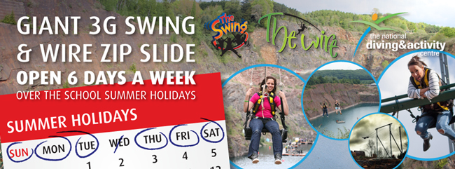 The Giant 3G Swing and Wire Zip Slide will be open 6 days a week throughout the School Summer Holidays.