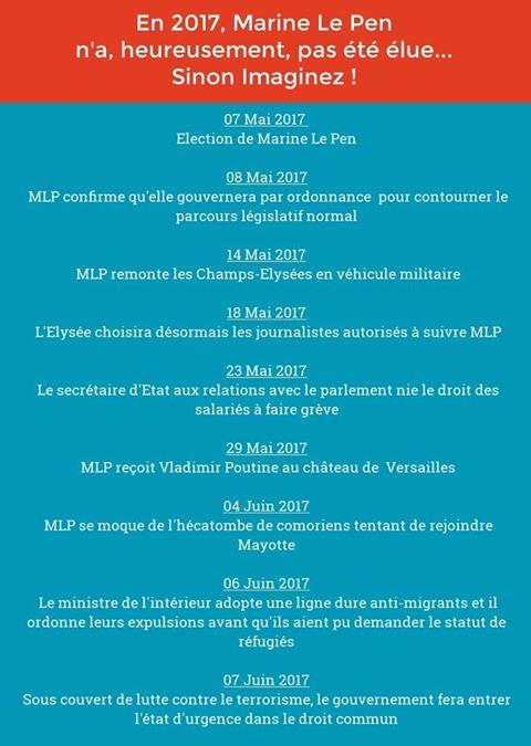 En 2017, Marine Le Pen n'a, heureusement, pas été élue... Sinon, imaginez !