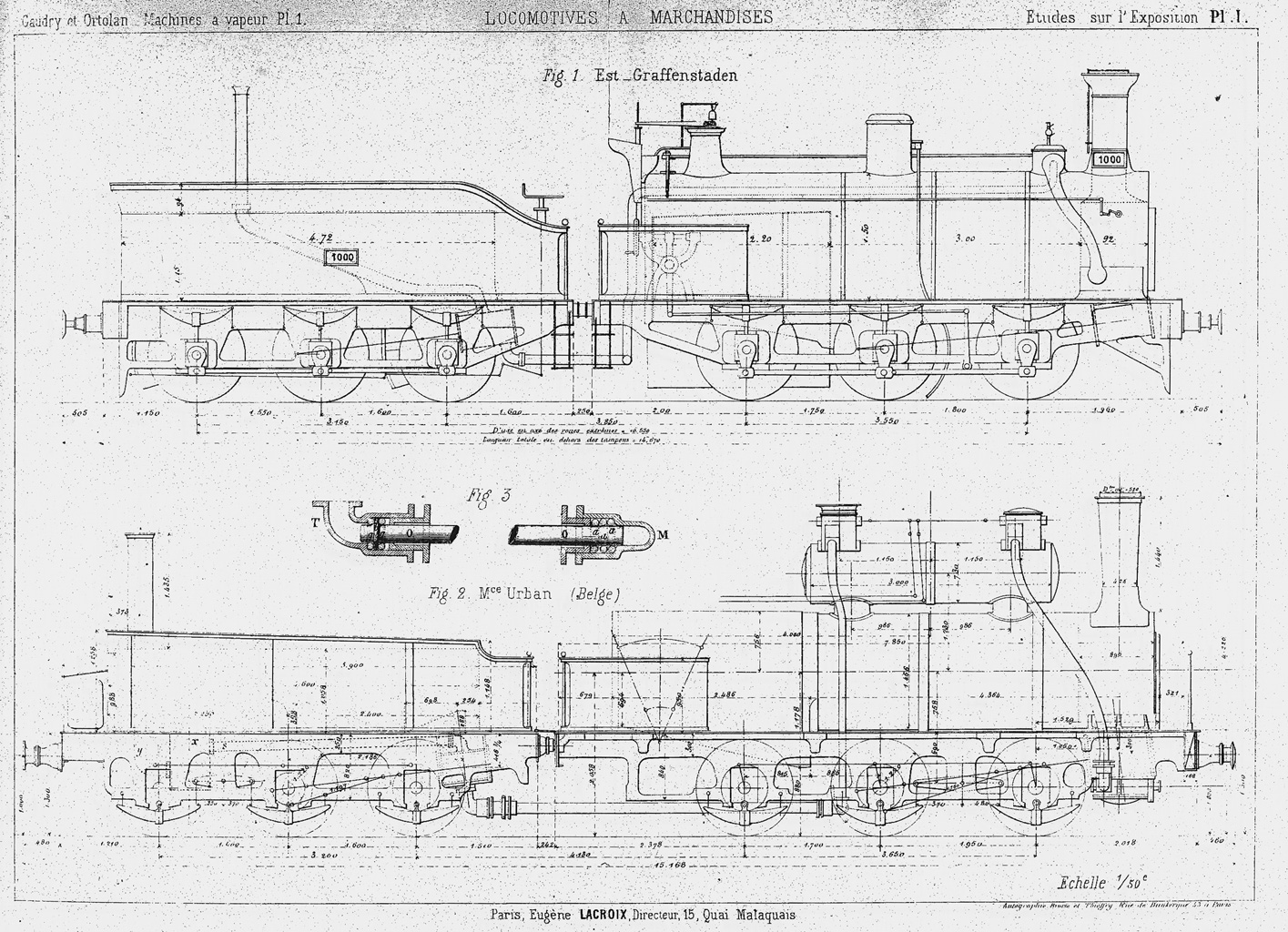 Side View Drawings Of Freight Steam Locomotive And Parts