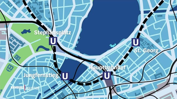 Map of Hamburg's city center with the line and the stops of the planned U5.