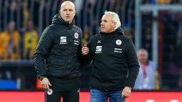 Trainer Marco Antwerpen (l.) und Manager Peter Vollmann von Eintracht Braunschweig
